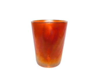 Vintage Marigold Carnival Swirl Glass Cup