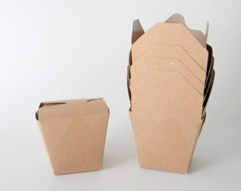 100 Mini 8 oz. 1/2 Pint Kraft Brown Chinese Take Out Boxes, Food Safe, Wedding Favor, Gift Wrapping, Eco Friendly,  Microwaveable,