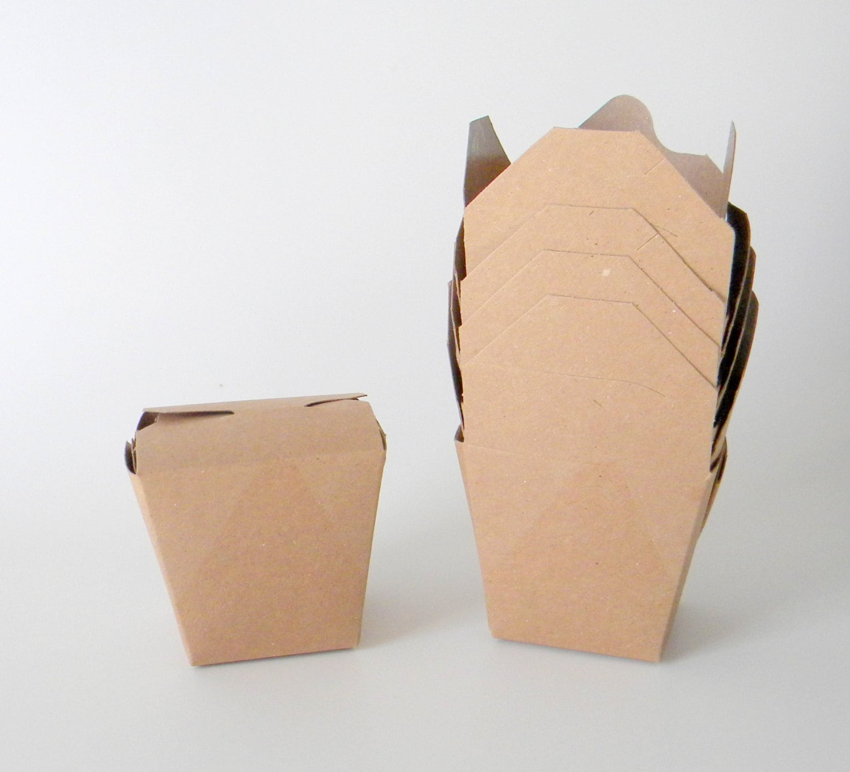 12 Mini 8 oz. 1/2 Pint Kraft Brown Chinese Take Out Boxes