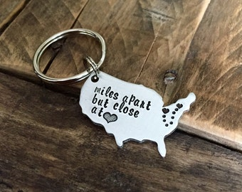 United States Custom hand stamped keychain long distance relationship keychain, USA with Personalized state keychain going miles apart