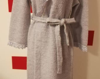Original 70's Vintage sartorial dressing gown. Light Purple soft fabric with lace details. Long Sleeves and belt. Made in Italy.