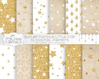 Burlap and gold glitter twinkle little star 12 digital papers - INSTANT DOWNLOAD