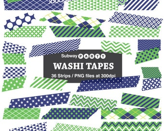 Navy Blue and Green Washi Tape Strips, Digital Clip Art, Photo Frame Borders, Scrapbook Embellishment, 36 PNGs transparent. INSTANT DOWNLOAD