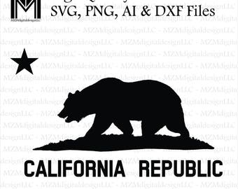 California Republic svg, png, ai and dxf Files -For Commercial & Personal Use- SVG for Cricut Silhouette and Cameo - Vinyl file - Cali Home