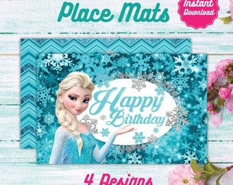 Frozen Place Mats, Printable placemats, Disney Frozen Birthday decoration, instant download, DIY, Elsa, Anna, Olaf Birthday