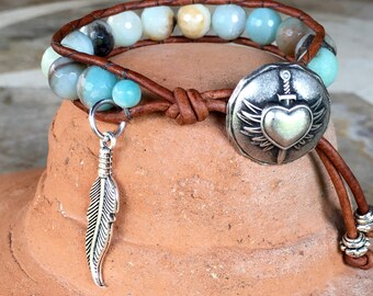 Amazonite gemstone leather wrap bracelet handmade with braveheart design pewter button clasp & feather charm
