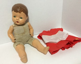 "14"" Horsman Vintage Composition Baby Doll Named Lucy Cloth Soft Torso Repaired Stains Painted Broke Crier"