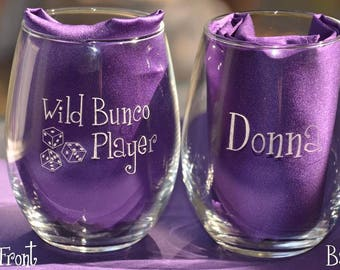 Wild Bunco Player Custom Engraved Glass, Bunco Prize, Personalized Bunko Gift, Wine/Beverage/Pilsner Beer Glass, Four Design Options