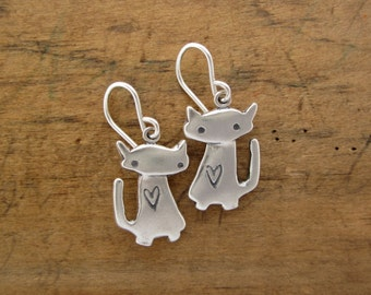 Space Cat Earrings - Sterling Silver Cat Earrings