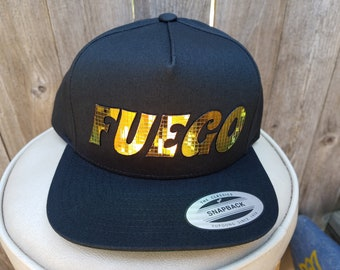 Fuego Flat Brim Hat in Black or Heather Grey with Super Reflective Writing and Snap Back Fit