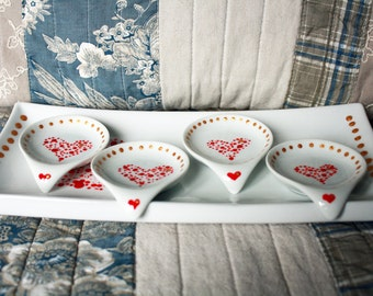 Hand painted heart appetizer set