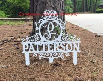 Monogram Yard Sign - Custom Yard Sign - Monogram Yard Decor - Monogram Yard Stake - Custom Yard Decor - Personalized Yard Decor - Wedding