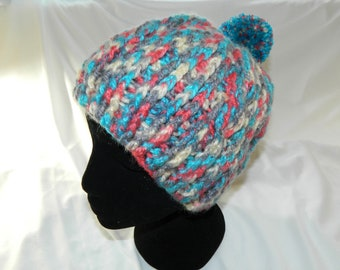 Crocheted Multi Colored Cabled Slouchy Beanie Hat with Pom