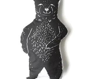 Pillow Plushie Mr. Black Bear- Decorative Pillow- Bear Plushie- Throw Pillow - Nursery Decor - Bear Pillow - Black Bear Plushie - Plush Bear