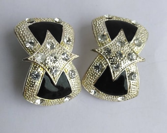 Chunky Runway Black Enamel Rhinestone Silver Clip On earrings, Statement, Runway Earrings, Vintage Costume Jewelry
