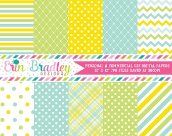Blue Yellow Green Digital Paper Set Commercial Use Digital Backgrounds Instant Download