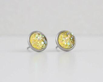 Lemon Yellow Druzy Crystal Earrings   ATL-E-155
