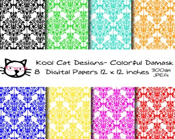 Damask Digital  Paper Pack - Colorful Damask Papers -Damask Patterns - Scrapbooking - Printable Paper - Paper crafts - Card making