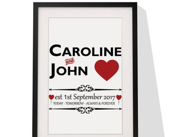 Wedding Anniversary Personalised Gift - Framed Print With Mount - Today Tomorrow Always Forever Design - 12 x 10 Inch