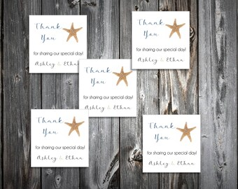 150 Beach StarfishWedding Favor Stickers. Personalized printed square labels are 2 inches by 2 inches.
