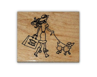 Paris Shopper, lady with poodle mounted rubber stamp, French, woman shopping, walking dog, Sweet Grass Stamps #22