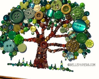 Family Tree Button Art Tree of Life Button Art with Swarovski Rhinestones Button Oak Tree big tree southern oak Spring Decorations