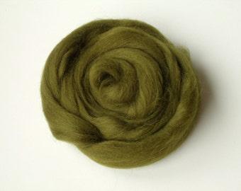 25g khaki felting or spinning carded Merino worsted