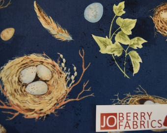 Bird Nests from the Nature Study Collection by Nancy Mink for Wilmington Prints, Quilt or Craft Fabric. Fabric by the Yard.