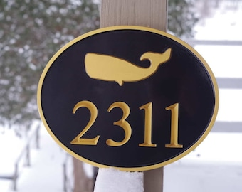 Nautical Street Address  House Marker Custom Carved Sign with whale or other stock image