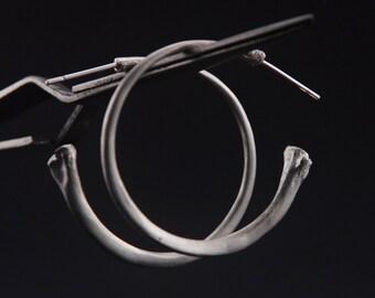 What Remains - Bone Hoop Earrings in sterling silver