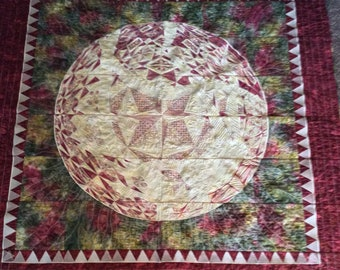 "Whole Earth Quilted Wallhanging, pattern by Hoopsisters , 60"" Square"