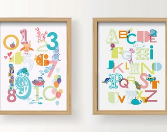 """PRINTABLE Nursery Wall Art - 123 Numbers & Alphabet 8 x10"""" AND A4 sizes (8x11.5""""). Instant download"""