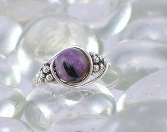 Charoite Sterling Silver Bali Bead Ring