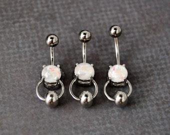 Belly Button Ring With Without Bead White Opal Belly Jewelry Surgical Steel Bar Short Navel Ring 14 Gauge