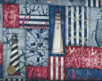 Nautical Quilting cotton fabric printed with boats, lighthouses etc - 55x30 cm