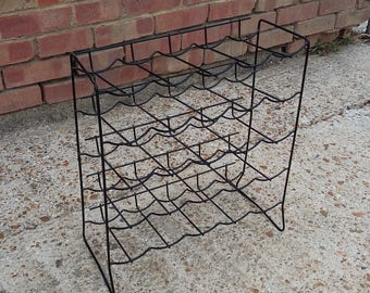 Vintage Retro Plastic and Metal Wine Rack