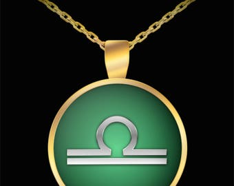 Libra Necklace - Zodiac Horoscope Astrology Sign Silver & Gold Plated Pendant UV  Water Resistant