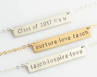 Teacher Appreciation Gift, Personalized Teacher Necklace,Personalized Teacher Gifts from Class,Graduation Gift, 2017, LEILAjewelryshop, N225