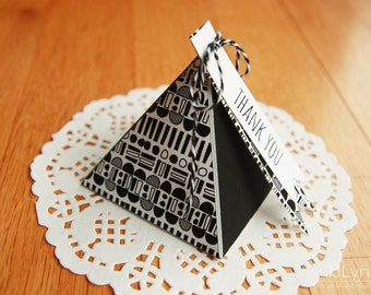 2 color pyramid box template/printable gift box/small box /Instant download /Handmade/DIY gift box /gift tags/nordic pattern mini box