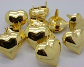 has 10 beautiful 27 mm x 26 mm brass hearts set gold
