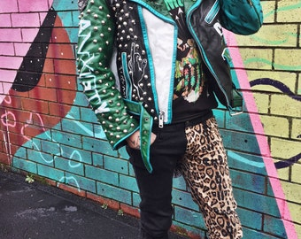 Leather Punk Jacket Hand Painted Mens Medium - Green White Black Multicolor Spiked Studded D.I. Team Goon Punk Rock Leather Patched Jacket