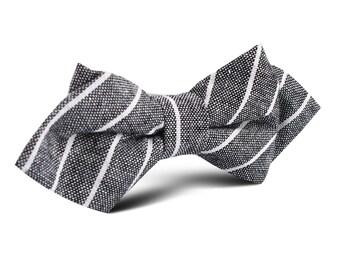 Men's Kettle Linen Black Pinstripe Diamond Bow Tie (L419-M-DBT) Pre-Tied Point Bowtie Pointed Bowties Ties Men Mens Adult 100% Linen Organic
