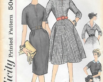 Simplicity 3118 UNCUT 1950s Half Size Dress with Two Skirts Vintage Sewing Pattern Bust 35 37 Detachable Collar Bow Sleeve Trim