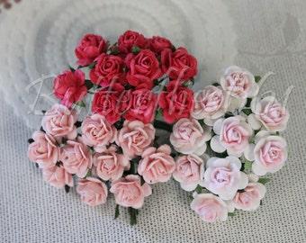 30 Mini Mixed Pink Handmade Mulberry Paper  Wedding  Scrapbooking Roses M-00