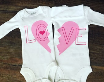 Twin Valentine's Day Set. Boy twin Valentine's! Girl twin Valentine's . Twin Outfits. Matching Twinning. Twin sets. Womb mates! Any color