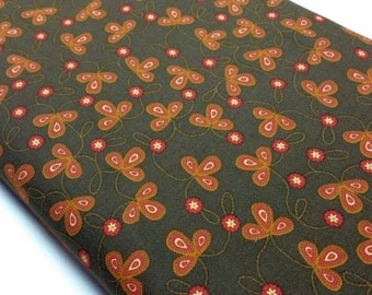 Michael Miller Stitch Three Leaves Fall Fabric in Brown Quilting Fabric