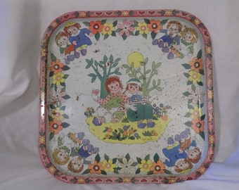 """1970s Vintage Metal Daher Decorated Ware RAGGEDY ANN & ANDY Tray 13.5"""" X 13.5""""  I Love You by Pritchard"""