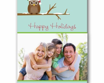 ON SALE Red Owl Holiday Photo Greeting Card - Digital File