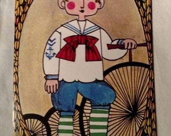 Faroy 1965 Pop Art Postcard, Sailor Boy with Bike, Bicycle Decor