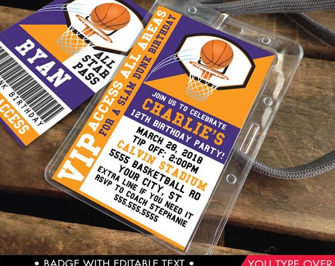 Basketball VIP I.D. Badge Invitation - Basketball Invite Badge, Party Favor, All Star Badge | Instant Download D.I.Y. Printable PDF Kit